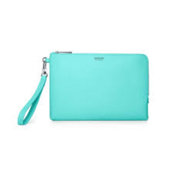 04286dbc897 NEW TIFFANY BLUE GRAIN CALFSKIN LEATHER ZIP CLUTCH.  M 5bef11d3819e909e43c4c79f